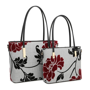Large Grey Embroidered Flower Handbag