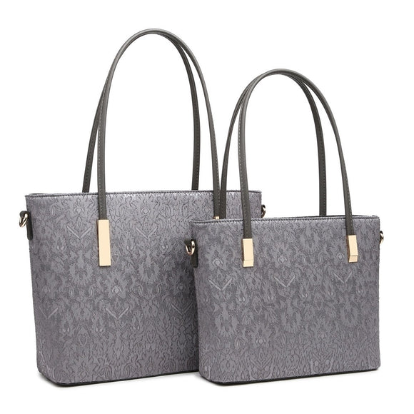 Small Grey Laced Handbag