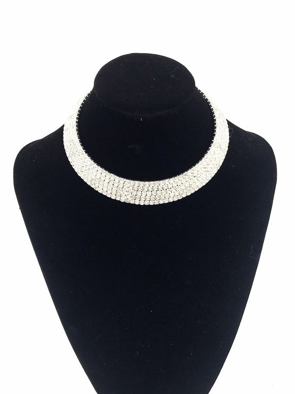 Silver Diamante Choker Necklace