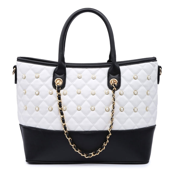 White Quilted Pearl Studded Handbag