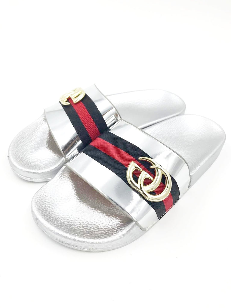 Silver Gucci Style Sliders