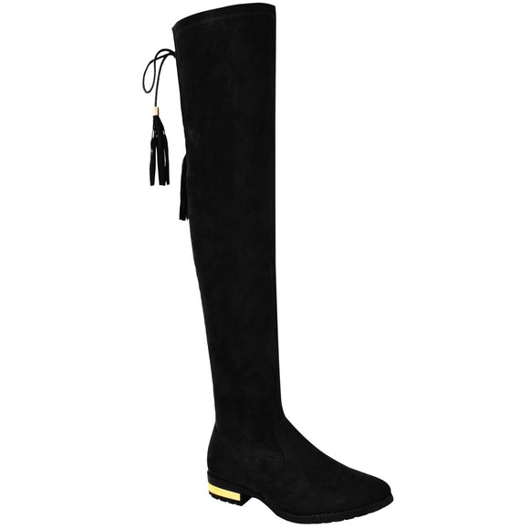 Black Thigh High Flat Boots