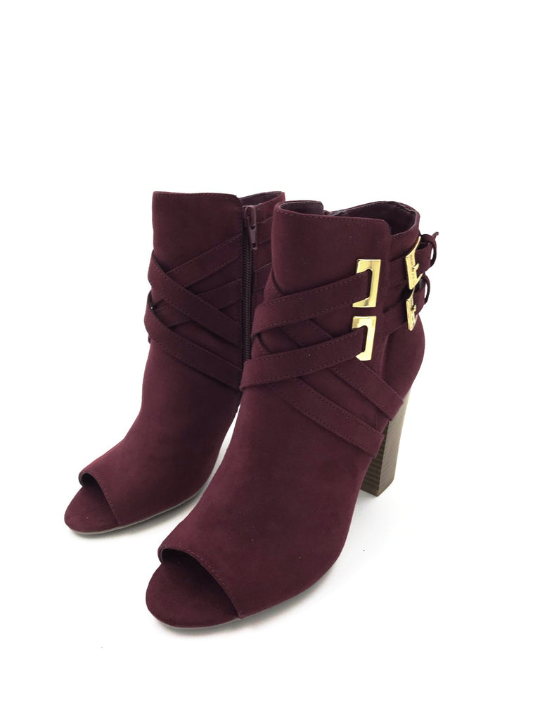 Burgundy Leather Peep Toe Heeled Ankle Boots