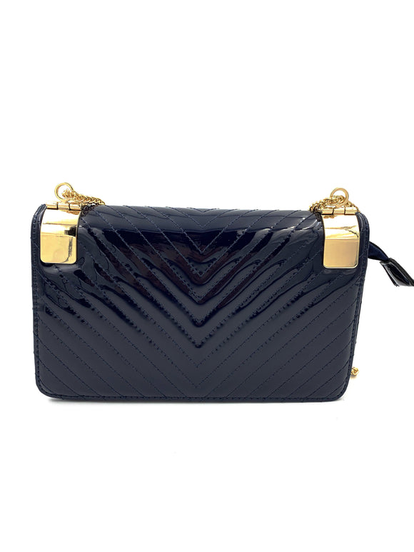 Navy Blue Patent Clutch