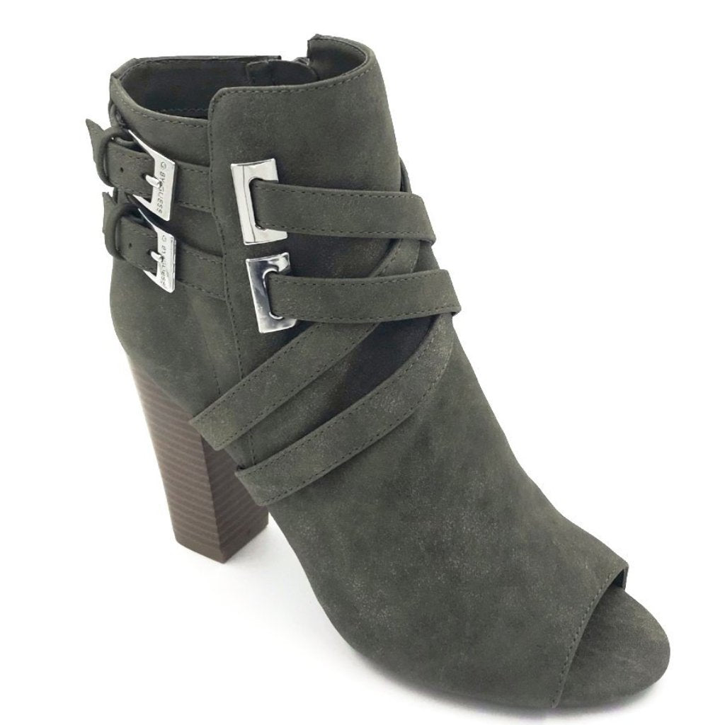 Green Leather Peep Toe Heeled Ankle Boots