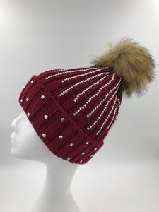 Burgundy Diamante Fur Pom Hat