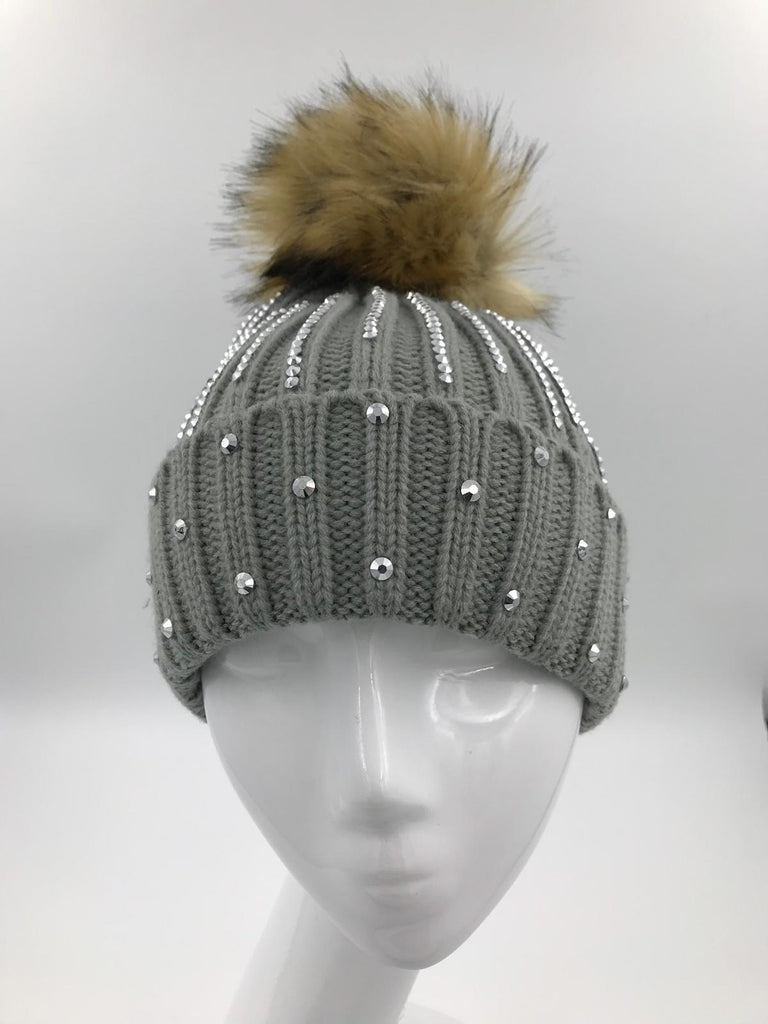 Grey Diamante Fur Pom Hat