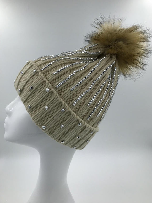 Beige Diamante Fur Pom Hat