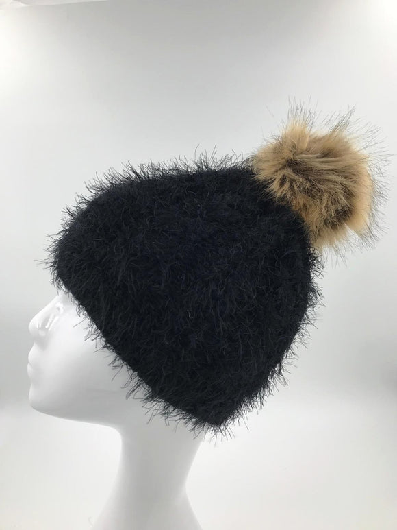 Black Wool Fur Pom Hat