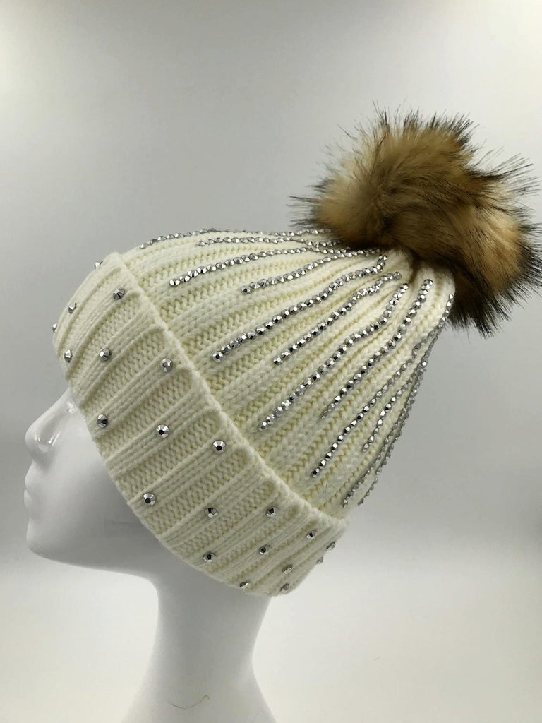 Cream Diamante Fur Pom Hat