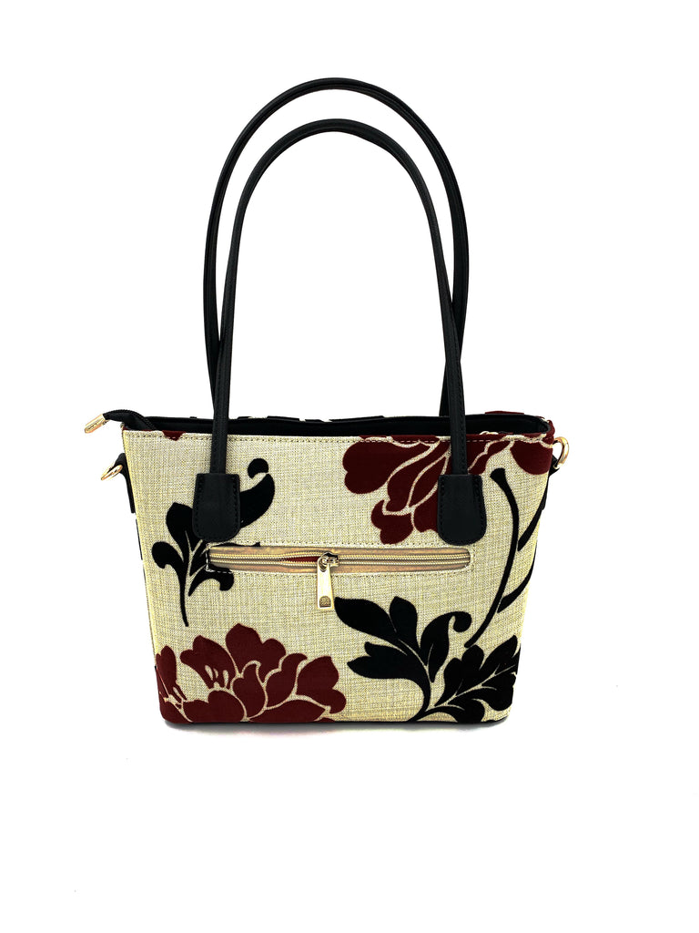Small Beige Embroidered Flower Handbag