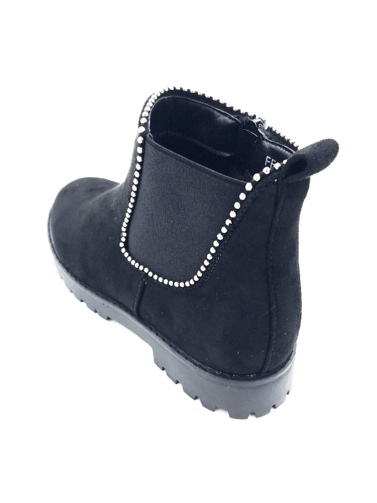 Black Suede Flat Studded Ankle Boots