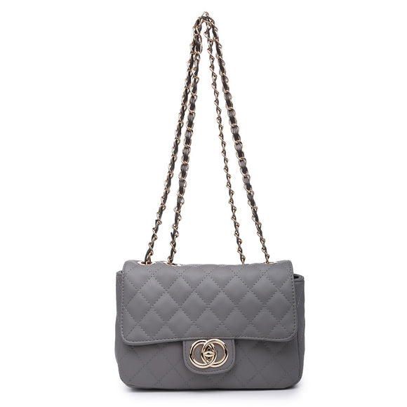 Grey Quilted Over The Shoulder Bag