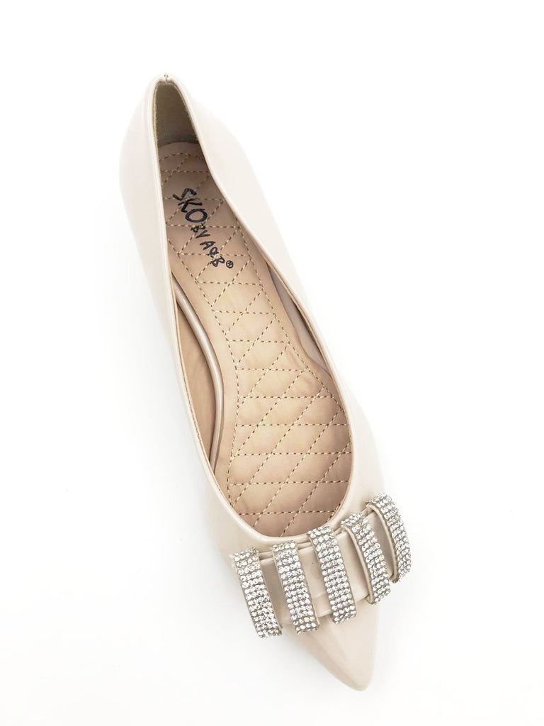 Beige Patent Pointy Flats