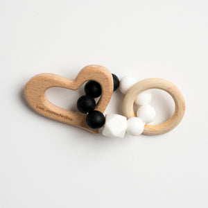 wooden teether, safe, baby shower gift, new mum, silicone food grade standard