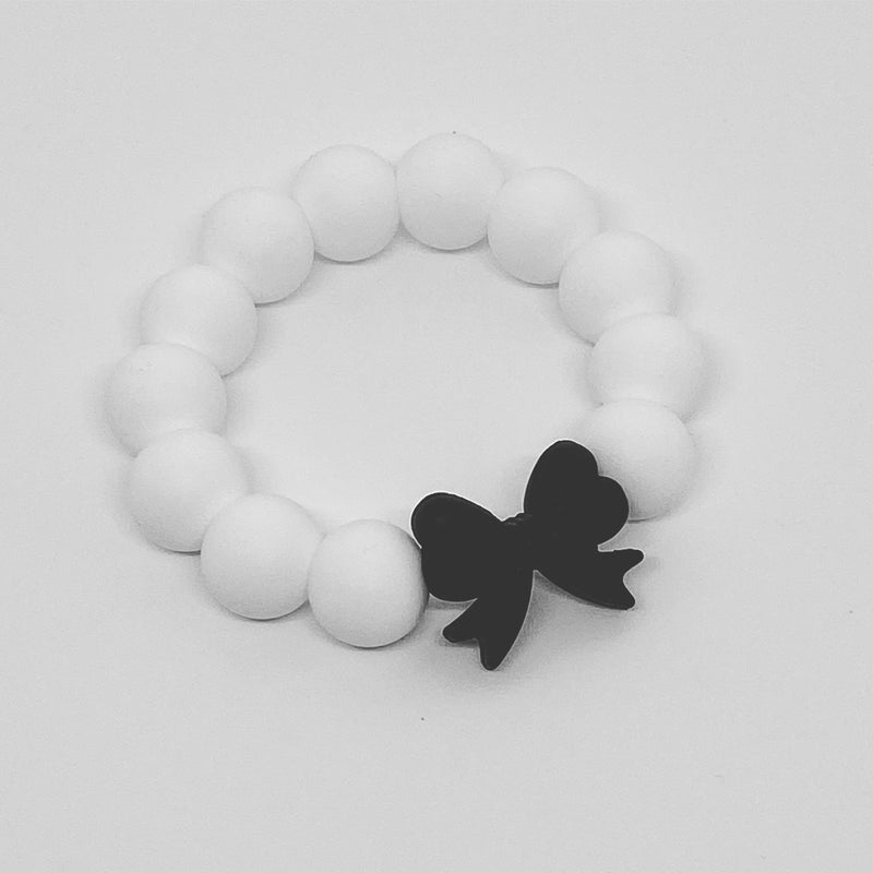 Silicone Teether - Bow (White)