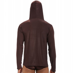 Men's Silky Hooded Pajama Underwear and Sleepwear