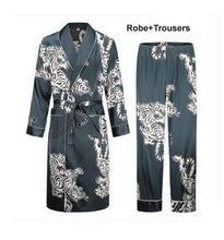 Load image into Gallery viewer, Men's Silk Thin Summer Tiger Long Sleeve Bathrobe by Shallow L-O-V-E