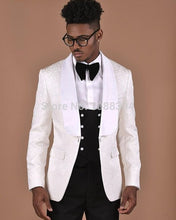 Load image into Gallery viewer, Sizzling for 2020! Men's Black Jacquard Slim Fit Custom Made Wedding Tuxedo by Su Zhou