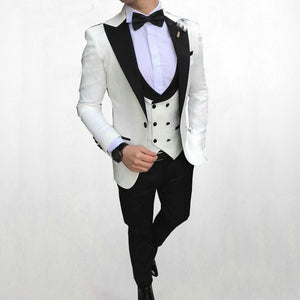 Sizzling for 2020! Men's Black Jacquard Slim Fit Custom Made Wedding Tuxedo by Su Zhou