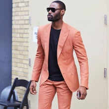Load image into Gallery viewer, Men's Casual Custom Peach Peaked Lapel Two Button Suit/Tuxedo for Casual or Wedding