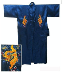 SIZZLE Into Spring & Summer With This Men's Dragon Embroidered Chinese Satin Kimono Bath Robe by Shallow L-o-v-e (Sizes S-XXXL)