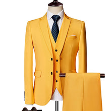 Load image into Gallery viewer, Men's Slim Fit Wedding/Prom/Business Tuxedo/Suit 3Pcs Set (Jacket+Pants+Vest) by Wise Selection