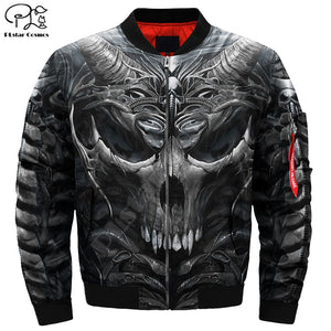 Men's 3d Bomber Skull Head Print Zipper Casual Flight Jacket Casual by PLstar Cosmos NO.2