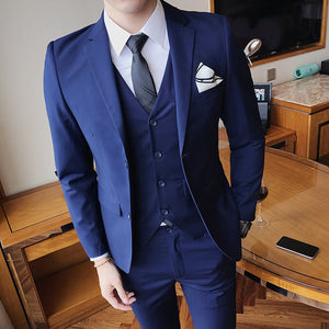 Men's Solid Color Slim Fit 3 Piece Wedding/Prom/Dinner/Business/Casual Suit by Wise Selection
