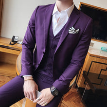 Load image into Gallery viewer, Men's Solid Color Slim Fit 3 Piece Wedding/Prom/Dinner/Business/Casual Suit by Wise Selection