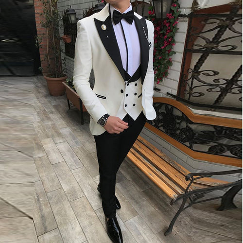 2020 Summer Sizzler! Men's 3 Piece Slim Fit Champagne Noble Grey White Formal Wedding Tuxedo for the Groom (Blazer+Pants+Vest) by SOLOVEDRESS Mens-Tuxe