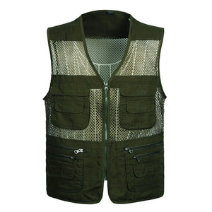 Men's Large Size Quick-Drying Breathable Multi-Pocket Sleeveless Mesh Work/Casual Wear Vest by Excellent Men