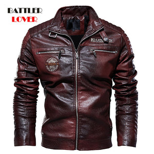 Men's Natural Real Leather Winter Motorcycle Jacket (plus sizes 3XL)