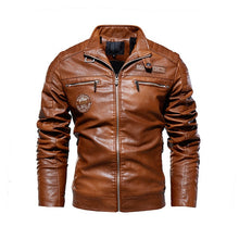 Load image into Gallery viewer, Men's Natural Real Leather Winter Motorcycle Jacket (plus sizes 3XL)