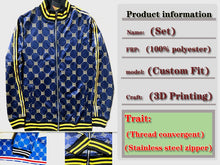 Load image into Gallery viewer, New Men's Colorful Casual Plaid Zipper Autumn Tracksuit Set by Choapin Nine-Degree Men's Franchis