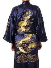 Load image into Gallery viewer, HOT SUMMER SIZZLER! Men's Burgundy Chinese Silk Satin Traditional Dragon Embroidered Kimono Sizes M L XL XXL XXXL by Holiday 11.11