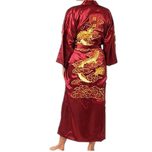 HOT SUMMER SIZZLER! Men's Burgundy Chinese Silk Satin Traditional Dragon Embroidered Kimono Sizes M L XL XXL XXXL by Holiday 11.11