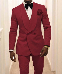 Men's Gold Pattern Groom Tuxedos with Shawl and Satin Lapel for Groom or Best Man ( Jacket+Pants+Vest+Tie ) by Gentle-Mens Suits