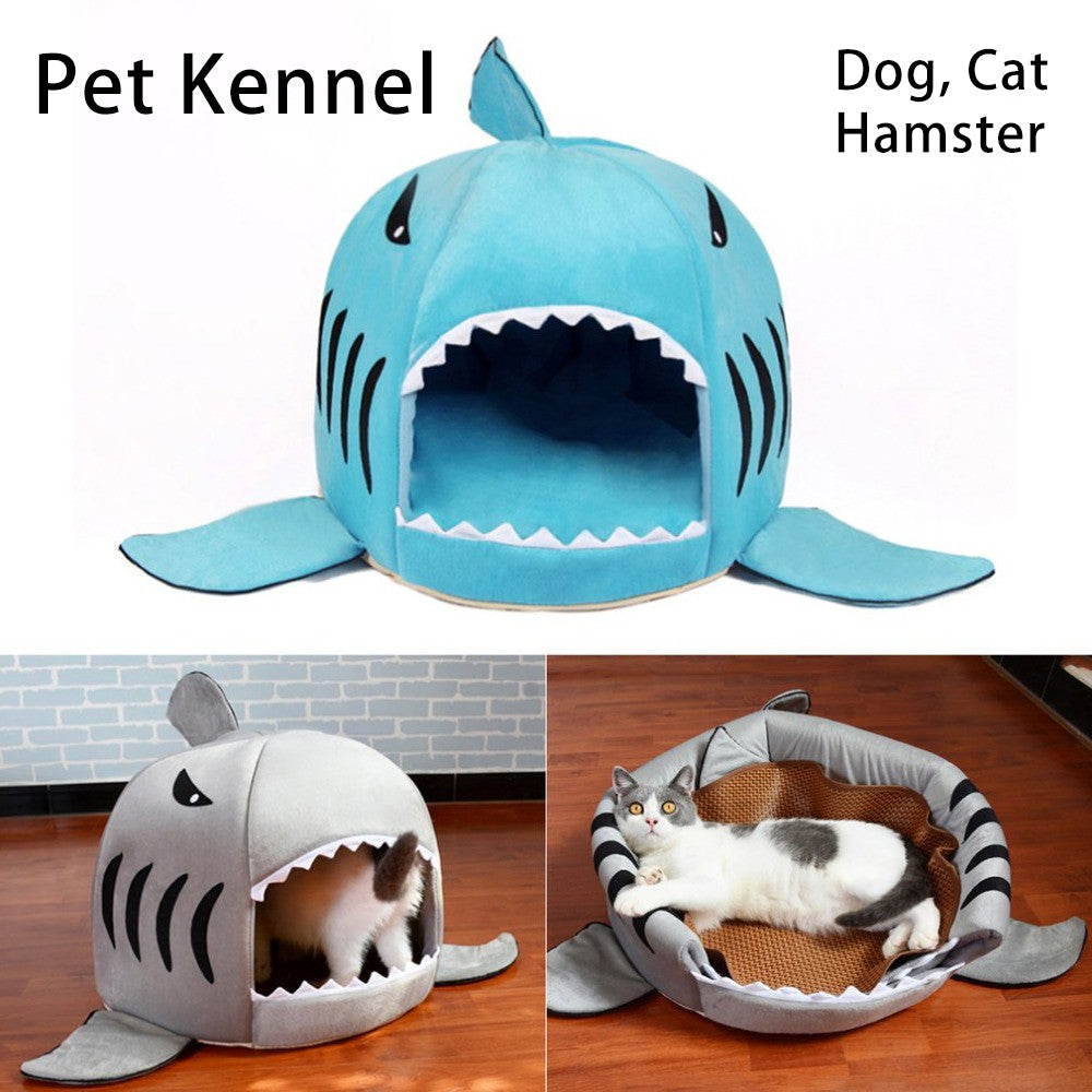 Amazing Pet Bed Dog Cat Shark Mouth Style House Soft Cushion Hut Home Interior And Landscaping Synyenasavecom