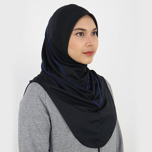 SPORT HIJAB - BLACK BLUE with CHIN COVER