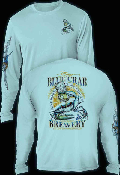 """Blue Crab Brewery"" Men's Extreme Wick Long Sleeve Performance Shirt ᴜᴘꜰ-ᴛᴇᴇ"