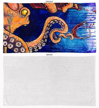 octopus the connoisseur beach towel front and back