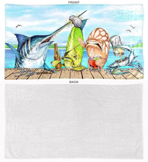 Raw Bar beach towel front and back