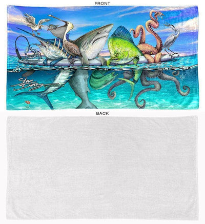 Board Meeting beach towel front and back