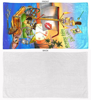 chasing happy hours beach towel front and back