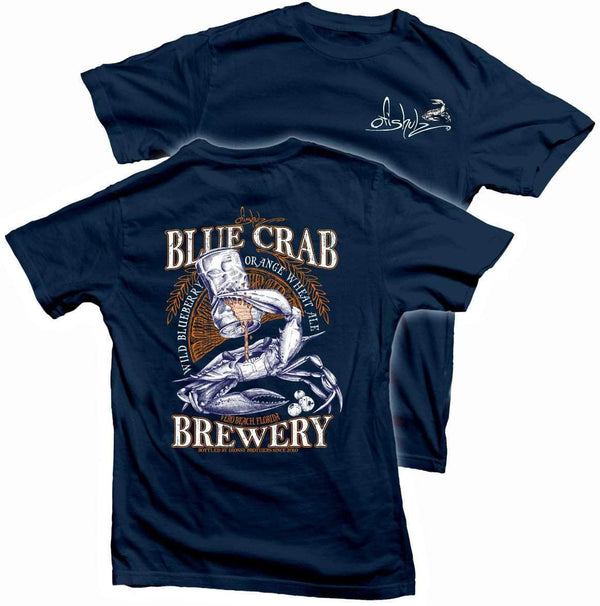 Blue Crab Brew (navy shirt) 100% combed ringspun cotton        (SMALL, MED, LARGE ONLY)