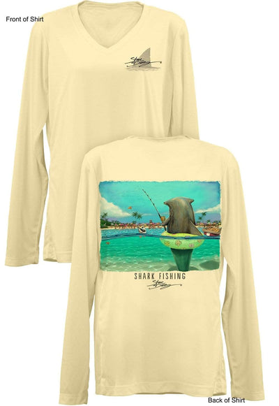 Shark Fishing- Ladies Long Sleeve V-Neck-100% Polyester