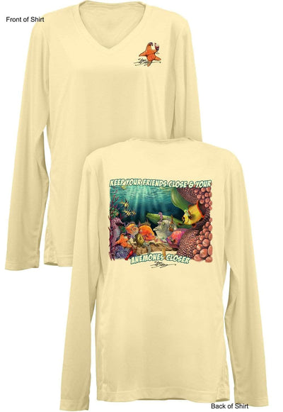 NEW! Anemones Closer- Ladies Long Sleeve V-Neck-100% Polyester