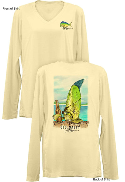 Old Salty- Ladies Long Sleeve V-Neck-100% Polyester