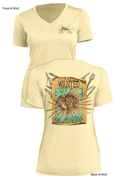 Lionfish WANTED- Ladies Short Sleeve V-Neck-100% Polyester